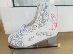 Коньки фигурные CBB белые с рисунком, размеры: 37,38,39,40. 37, 38, 39, 40, фигурные коньки