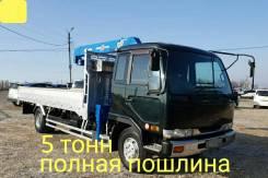 Nissan Diesel. 6,9л, борт 5 тонн + кран, 6 900куб. см., 4x2