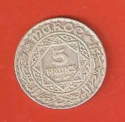 5 франк 1928 г. Марокко, серебро 5 гр. Редкая.