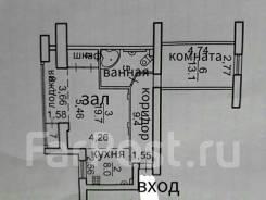 2-комнатная, проспект Океанский 90. Первая речка, частное лицо, 65кв.м. План квартиры
