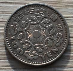 Япония 100 йен 1958 год Серебро