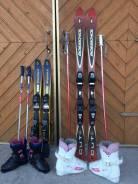 Горные лыжи в с ботинками и с палками. 1,60см., горные лыжи, трассовые (carving)