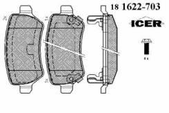 Комплект тормозных колодок диско Icer 181622-703 Hyundai / Kia (Mobis): 58302-A2A30 58302-1PA30. Opel: 1605086 1605967 1605128 1605995 1605233