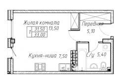 1-комнатная, улица Садгородская 23. Садгород, агентство, 35кв.м. План квартиры