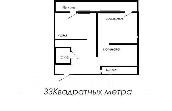 2-комнатная, улица Леонова 66. Эгершельд, агентство, 50кв.м. План квартиры