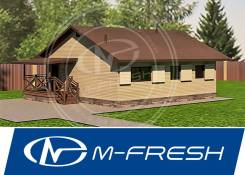 M-fresh Rancho (Готовый проект каркасного маленького дома с парной! ). до 100 кв. м., 1 этаж, 4 комнаты, каркас