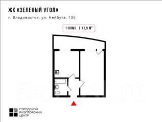 1-комнатная, улица Нейбута 135 стр. 2. 64, 71 микрорайоны, проверенное агентство, 32кв.м. План квартиры