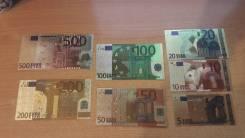 Сувенирные банкноты 7 шт 500/200/100/50/20/10/5 евро во Владивостоке