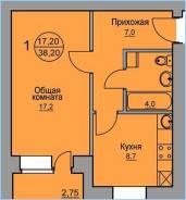 1-комнатная, улица Гаражная 21. Железнодорожный, агентство, 39кв.м.