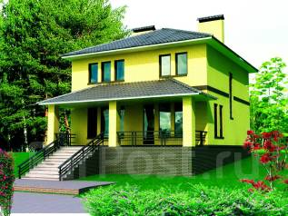 Проект дома из газобетона 9-208П-2. 200-300 кв. м., 2 этажа, 7 комнат, бетон
