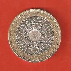 2 фунта 2004 г. Англия.