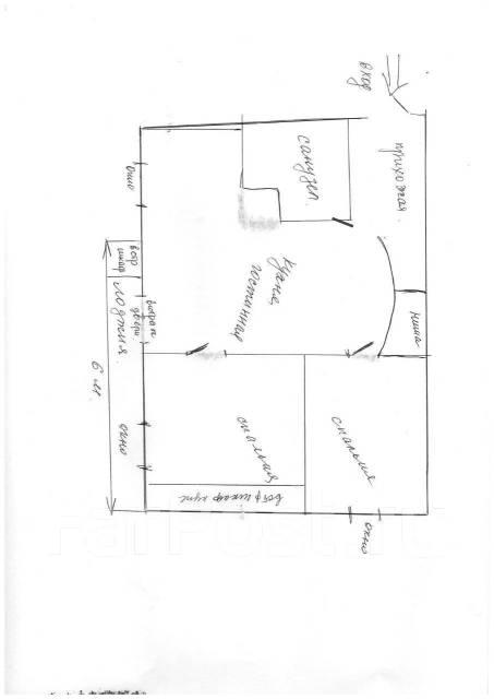 2-комнатная, улица Нерчинская 38. Центр, частное лицо, 40кв.м. План квартиры