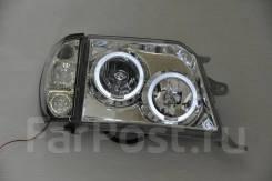 Фары тюнинг Toyota Land Cruiser Prado 90-95 хром белые (глазки)