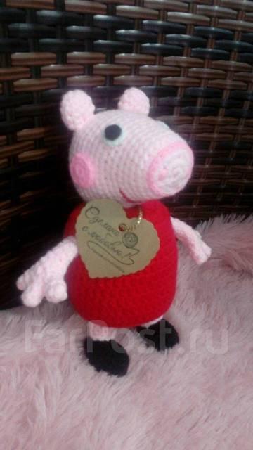 вязаная свинка пепа игрушки в арсеньеве