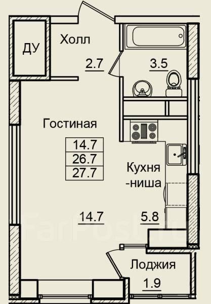 1-комнатная, улица Нейбута 17 кор. 10. 64, 71 микрорайоны, застройщик, 28кв.м. План квартиры