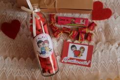 Бутылочка с причинами любви love+вкусняшки love is+открытка 14 февраля
