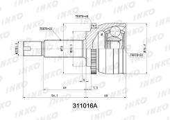 ШРУС наружный с ABS комплект Hyundai Solaris (SB) 10, KIA Rio 05-11 311016A