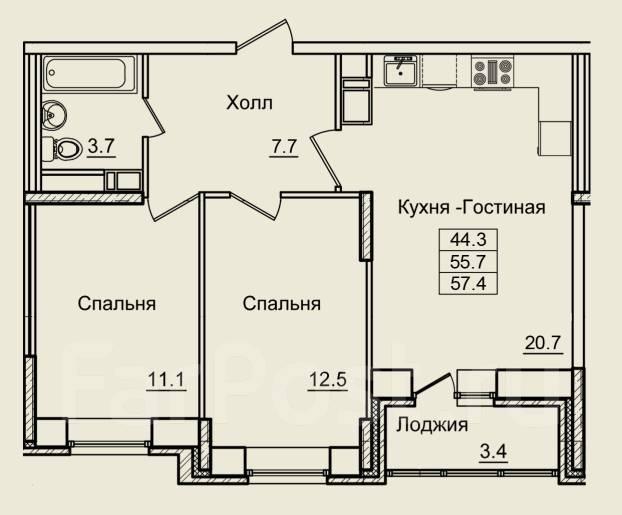 2-комнатная, улица Нейбута 4а. 64, 71 микрорайоны, застройщик, 57кв.м. План квартиры