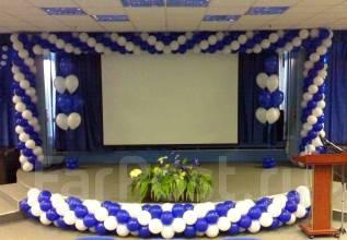 Оформление воздушными шарами открытия магазина, бизнес зал Владивосток