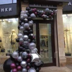 Арки , гирлянды из воздушных шаров на открытие магазина , бизнес зала