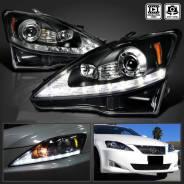 Фары тюнинг Lexus IS250, IS350 2005-2013 черные с дхо