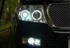 Фары передние хром ангельские глазки линзы Toyota Land Cruiser 200