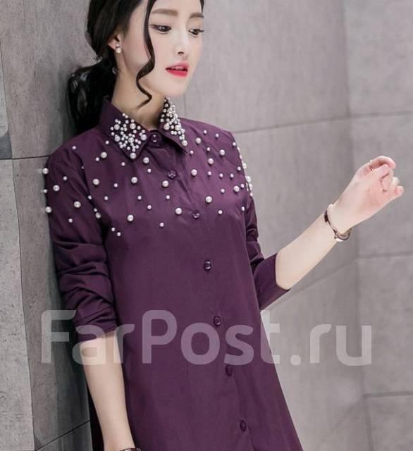 4544f85def5 Платье-рубашка с кружевом цвет баклажан 42-44 размер - Основная ...