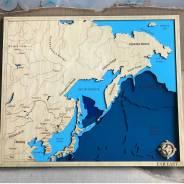Карта Мира, Карта Дальнего Востока из дерева. Карта глубин. Под заказ