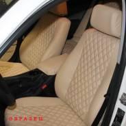 Чехлы на сиденья Toyota Land Cruiser Prado 150 2009-2017 5 мест (ромб, экокожа, алькантара, бежевые)
