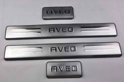 Накладка на порог. Chevrolet Aveo, T200, T250, T255 B12D1, B12S1, F12S3, F14D3, F14D4, F14S3, F15S3, F16D3, L91, L95, LMU, LXT, LXV, LY4