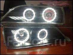 Оптика (фары) Toyota Cresta 100 линза + ангельские глазки черные