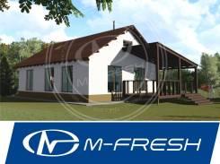 M-fresh Azart! (Проект экономичного дома для семьи с антресолью). до 100 кв. м., 1 этаж, 3 комнаты, бетон