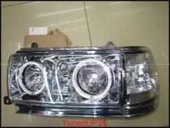 Оптика (фары) Toyota Land Cruiser 80 с ангельскими глазками белые