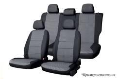 Комплект чехлов Nissan Almera (Россия), 2012-2018, сплошной задний ряд, жаккард черный/серый