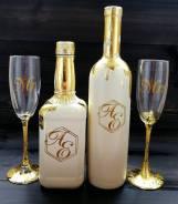 Оформление свадебных бутылок бокалов.