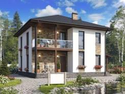 Проект двухэтажного дома 185м2. 100-200 кв. м., 2 этажа, каркас