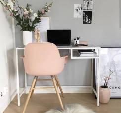 ВИТШЁ Стол для ноутбука, цвет белый, стекло, 100*36*74см, ИКЕА, в наличии