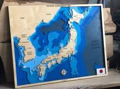 Карта Мира из дерева. Карта Японии. Часть: Япония. Под заказ