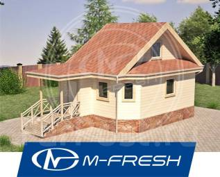 M-fresh Rio (Проект хорошей такой бани с жилой мансардой! ). до 100 кв. м., 1 этаж, 2 комнаты, дерево