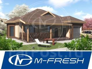 M-fresh Freee-e-eeedom! (Проект одноэтажного дома с гаражом! ). 100-200 кв. м., 1 этаж, 4 комнаты, бетон