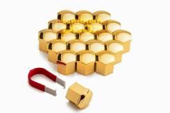 Колпачки пластиковые под 17 ключ, (Комплект 20шт.+ зажим) низкие ЗОЛОТЫЕ Арт. C17HS GD (17 HEX- GD (S))
