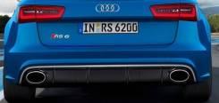Диффузор c насадками RS6 для Audi A6 C7 рестайлинг (2014-2017) на обычный бампер