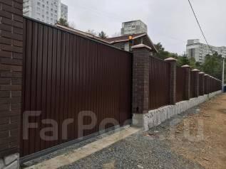 Откатные ворота, гаражные ворота изготовление установка, заборы