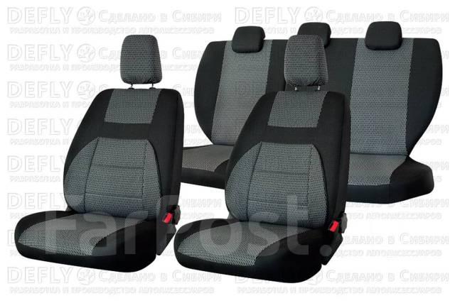 Комлект чехлов Lada Granta, 2011-2018, доп. боковая поддержка, сплошной зад. ряд, жаккард черный/ темно-серый