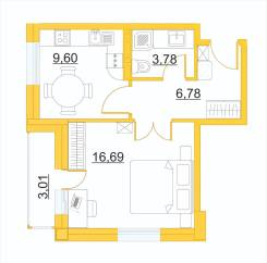 1-комнатная, улица Сафонова 7. Борисенко, агентство, 38кв.м. План квартиры