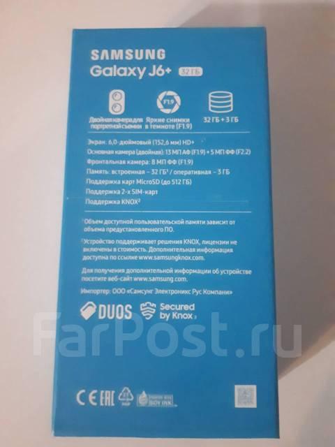 Samsung Galaxy J6+. Новый, 32 Гб, Черный, 4G LTE, Dual-SIM