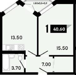 1-комнатная, улица Омелькова 44. 12 мкр, частное лицо, 40,6кв.м.