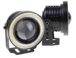 Туманки с ангельскими глазками и линзой (d=76mm) универсальные LED
