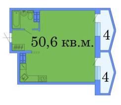 2-комнатная, проспект 100-летия Владивостока 178. Заря, частное лицо, 51,0кв.м. План квартиры
