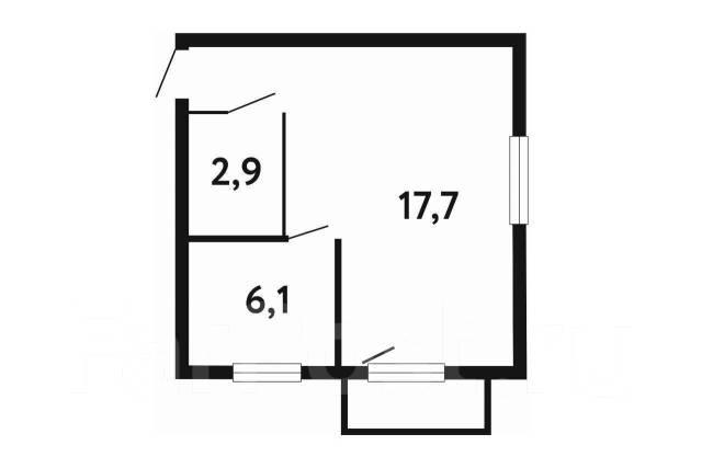 1-комнатная, улица Комсомольская 2. Первая речка, агентство, 30,0кв.м. План квартиры